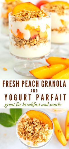 Peach Parfait Recipe, Parfait Recipes, Yogurt Recipes, Healthy Breakfast Recipes, Brunch Recipes, Snack Recipes, Cooking Recipes, Freezer Recipes, Freezer Cooking
