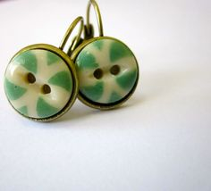 Antique BUTTON earrings, green china butttons from Victorian era 1800s, leverbacks