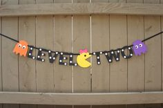 Pac-man themed 'LEVEL TWO' Party Banner for by thePartyPropShopSD