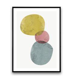 Aquarel print abstracte kunst minimalistische print door Wallzilla