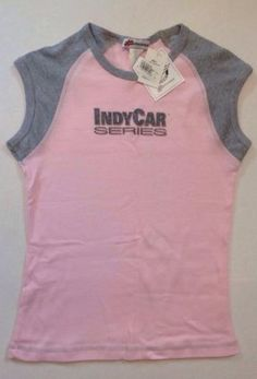 Indy Car Series Pink Gray Sleeveless Muscle Racing Licensed T Shirt Large NWT