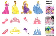 On her request for a princess party, I started off thinking Disney because that's who she always dresses up as. But I hate doing commercialized parties, so I thought generic pink princess. Now I have combined the two ideas into having a subtly Disney princess without actually having the face of any of them present.