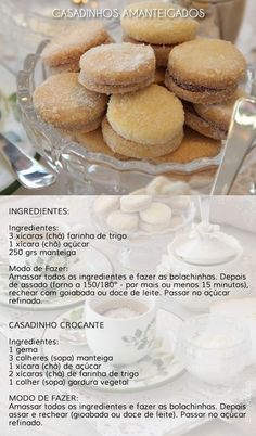 Biscoito amanteigado - casadinho: Cookie Recipes, Dessert Recipes, Desserts, Good Food, Yummy Food, Portuguese Recipes, Cookies, Sweet Recipes, Biscuits
