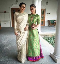 KAREENA KAPOOR KHAN AND KARISMA KAPOOR They're the first ladies of Bollywood and boy do they dress the part. Both Kapoor's recently opted for Indian outfits—Karisma looking elegant in a cream Sabyasachi sari while Kareena had some fun with colour by Pakistani Dresses, Indian Sarees, Indian Dresses, Indian Outfits, Indian Attire, Indian Wear, India Fashion, Asian Fashion, Indian Fashion Trends