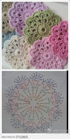 "Delicadezas ""Crochet Flower Coaster - with Diagram"", ""Crochet - coasters pattern (instructions in Russian)"", ""Free crochet coaster pattern using one Crochet Diy, Crochet Motifs, Crochet Flower Patterns, Crochet Squares, Love Crochet, Crochet Granny, Crochet Doilies, Crochet Designs, Crochet Flowers"