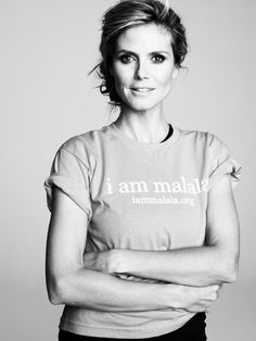 """Heidi Klum said on twitter, """"Please support Malala Yousafzai, a 14 y/o girl, who was shot because she wanted to go to school. http://educationenvoy.org"""""""