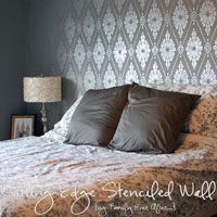 Damask Stencil Feature Wall Stunner!
