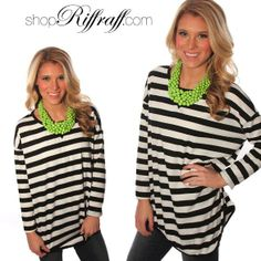 Obsessed with this necklace and tunic! Perfect for work. #werk #workuniform v-trim striped tunic