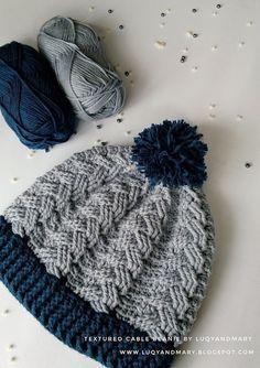 Mütze häkeln Luqy And Mary: Crochet Cable Beanie Written Pattern Bandeau Crochet, Bag Crochet, Crochet Cable, Crochet Headband Pattern, Crochet Beanie Hat, Cute Crochet, Crochet Crafts, Crochet Projects, Learn Crochet