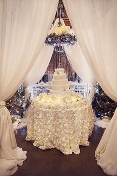 Gorgeous Ivory Satin Rosette Tablecloth by www.BellaAngelEventDecor.com