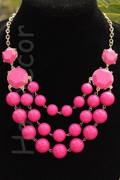 Hot Pink Statement necklaces Bubble Necklace Beaded by HotDecor, $12.99