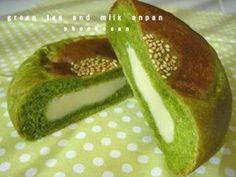 Green tea bread with custard fillings...