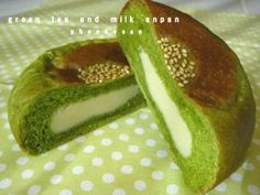 green tea bread with custard fillings...