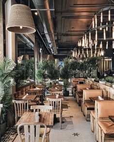 Industrial exposed vents and conduits with tiled floor, raw wood, green. Cafe Restaurant, Restaurant Concept, Restaurant Photos, Lounge Design, Bar Bistro, Decoration Restaurant, Restaurant Interior Design, Brewery Interior, Bistro Interior