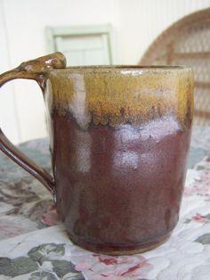 Earthy brown and gold coffee mug~