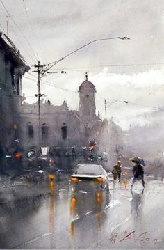 Watercolor painting by Joseph Zbukvic. Joseph Zbukvic is one of the finest master watercolor painters in the world; his watercolor painting instruction workshops sell out wherever he travels. Watercolor Landscape, Watercolour Painting, Painting Abstract, Watercolours, Abstract City, City Painting, Abstract Portrait, Portrait Paintings, Acrylic Paintings