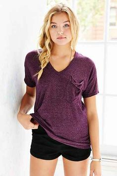 Truly Madly Deeply V-Neck Slouch Pocket Tee - Urban Outfitters