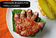 HAND-burgers. Perfect for a pre trick-or-treating dinner. #halloween