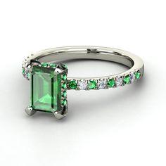 Emerald-Cut Emerald Platinum Ring with Emerald & Diamond   Reese Ring   Gemvara