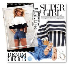 """""""#Denim Shorts"""" by nikkisg ❤ liked on Polyvore featuring Levi's, Chanel, Ancient Greek Sandals, Topshop, jeanshorts, denimshorts and cutoffs"""