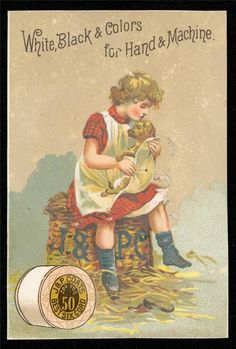 1887 J P Coats Pocket Calendar Girl Holding Puppy Victorian Trade Card | eBay