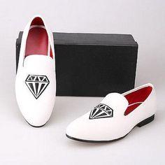 New handmade Men Diamond White handmade Velvet Slippers Loafers, #Handmade #MoccasinSlippers