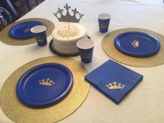 Royal Prince Blue and Gold Glitter Crown Party Cups Plates and