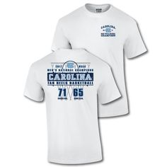 ccdf3000688 North Carolina Tar Heels - 2017 National Champs Distressed Score T (White)  by Tobacco Road Tees