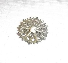 50s 60s Vintage Snowflake Brooch or Pin with by MyVintageHatShop