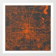 Houston map Art Print by Map Map Maps - $18.00 ----------------------------If you like my work, you can folllow my Facebook accournt : https://www.facebook.com/MapMapMaps?ref_type=bookmark