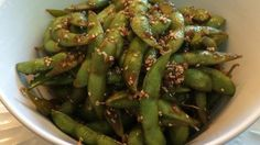 One of my favorite sushi restaurants had this yummy edamame dish, so I tried to duplicate it at home. I think I came pretty close.