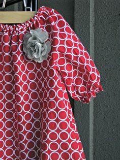 Dress - Red white circles dots silver flower baby toddler birthday girl 0-3 months, 3-6, 6-12, 12 -18, 18-24, 2t, 3t, 4t, 5t, 6