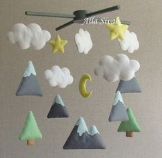 Shipping Time: Ready-to-ship Mountains Baby Mobile, Baby Crib Mobile, Modern…