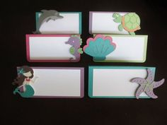 Mermaid Under the Sea Food Tents Buffet Labels / Place Cards Set of 6 Birthday Party Shower Pink Gre Shower Banners, Name Banners, 6th Birthday Parties, 3rd Birthday, Birthday Cakes, Mermaid Under The Sea, Food Tent, Little Mermaid Birthday, Photo Banner