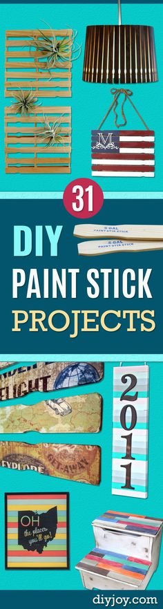 DIY Projects Made With Paint Sticks - Best Creative Crafts, Easy DYI Projects You Can Make With  Paint Sticks From The Hardware Store - Cool Paint Stick Crafts and Furniture Project Tutorials - Crafty DIY Home Decor Ideas, Wall Art and Furniture That Make Awesome DIY Gifts and Christmas Presents for Friends and Family http://diyjoy.com/diy-projects-paint-sticks