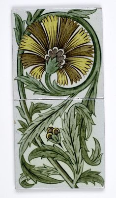 William De Morgan.  Ceramic wall tile with green foliage design on white background. Hull and East Riding Museum, UK.