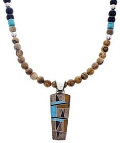 Multicolor Inlay Sterling Silver Pendant Bead Necklace Set MW68949