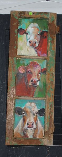 I have my old window frame like this! Maybe I can do one painting at the chill n paint, and one with Janice @ her studio! juNxtaposition: country living fair ~ south ~ part 2 Cow Painting, Painting & Drawing, Animal Paintings, Art Paintings, Country Paintings, Cow Pictures, Cow Pics, Country Living Fair, Farm Art