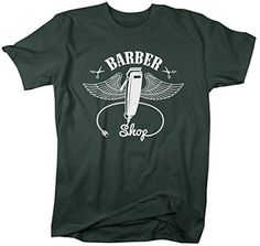 Shirts By Sarah Men's Barber Shirts Clippers Wings Clippers Shirt For Barbers