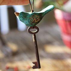 Rustic bird folk ornament handmade ceramic christmas by kylieparry, $26.00