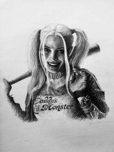 Graphite drawing of Harley Quinn from Suicide Squad, by the Head of Character Animation  @ DreamWorks