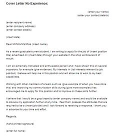 work experience cover letter