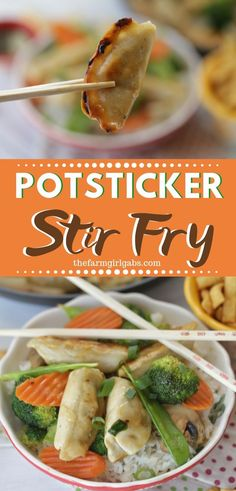 Celebrate the Chinese New Year with this easy make at home Potsticker Stir Fry Rice Bowl. Ling Ling Potstickers are so delicious. Side Dishes Easy, Side Dish Recipes, Asian Recipes, Low Carb Recipes, Oriental Recipes, Asian Foods, Easy Recipes, Game Day Food, Recipe For Mom