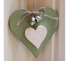 Green Heart with Small Heart and Bells Heart Decorations, Valentines Day Decorations, Valentine Day Crafts, Holiday Crafts, Wooden Hearts Crafts, Heart Crafts, Diy Home Crafts, Clay Crafts, Wood Crafts