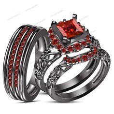 1.09CT Garnet 10k Black Gold FN Bride & Groom Engagement Bridal Ring Trio Set $$