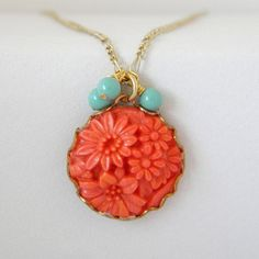 Coral and Mint Green Vintage Simple Charm by ImogenandEloise, $18.00