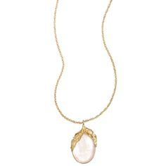 Feather + Cabochon Long Pendant | Chloe + Isabel - This reminds me of the necklace I wore on my wedding day