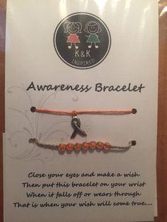Leukemia Awareness Wish Bracelet by Kandkinspired on Etsy Fighting Cancer Quotes, Acute Myeloid Leukemia, Leukemia Awareness, Childhood Cancer, Wish Bracelets, Eye Make, Make A Wish, Celebrations, Families