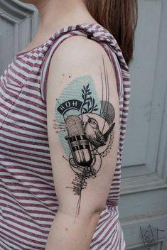 IG @koittattoo Koit Tattoo, Berlin. Cool unique graphic style arm tattoo - bird, microphone, geometric and abstract patterns in black and turquoise. Inked arm | Tattoo ideas | Tattoo artist | Germany tattoo artists | Microphone tattoo | Bird tattoo | Berlin tattoo artist | tattoos for girls | Tattooed girl | Inked girl | Half sleeve | Body art | Music tattoo | Inspiration | Black tattoo | Graphic design | Illustration | Art | Body art | Tatouage | Tätowierung | Tatuaggio | Tatuaż | Tatua