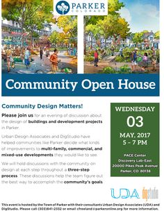 Community Design Matters!  The Town of Parker invites you to attend an evening of building design discussion with consultant Urban Design Associates, a leading architectural firm that will assist us in updating our building design standards for new development. This meeting is one in a series of three public design conversations for the community to participate and discuss the future of the Town's building design for commercial, industrial, multi-family and mixed-use standards…